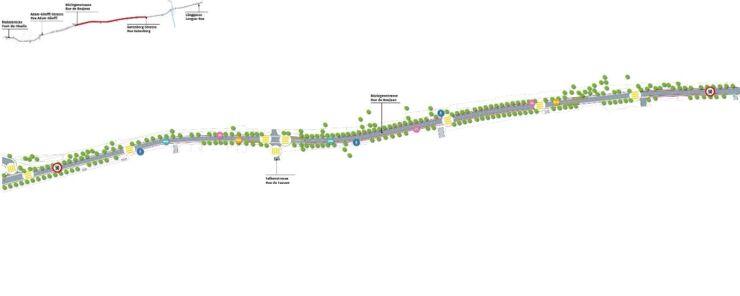 Plan des Sektors Bözingenstrasse / Plan du secteur rue de Boujean