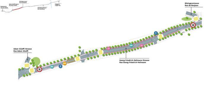 Plan des Sektors Georg-Friedrich-Heilmann-Strasse / Plan du secteur Georg-Friedrich-Heilmann