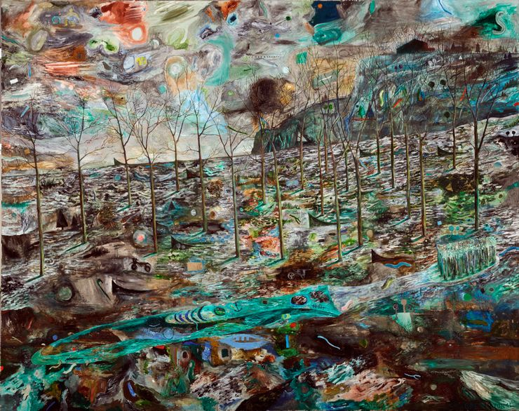 Ein gemaltes Bild mit surrealistischen Bildelementen. Klar zu erkennen sind Bäume, ohne Blätter.