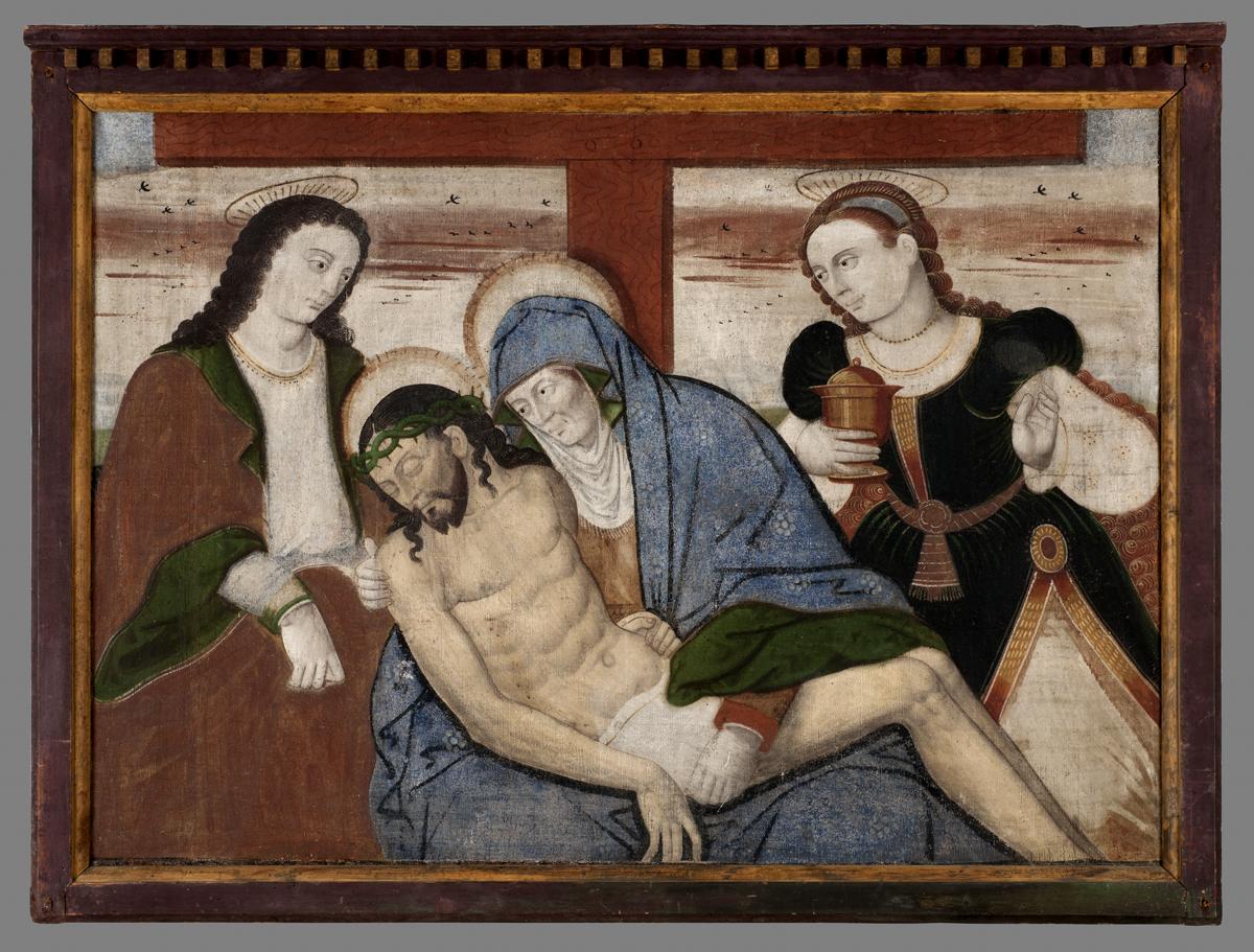 Eine Malerei von 4 Menschen: Drei Frauen, die sich über Jesu zu Füssen des Kreuzes beugen. Alle haben zudem einen Heiligenschein oben an ihren Köpfen.