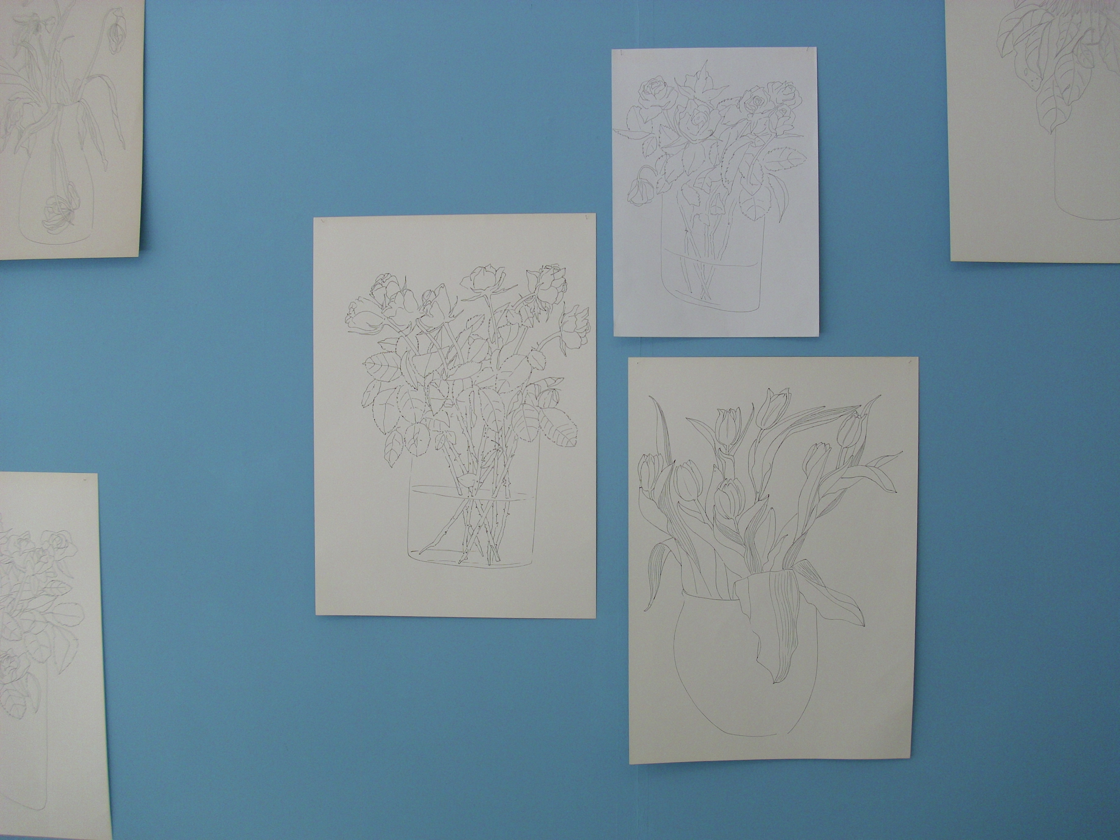 Zeichnungen von Blumensträussen auf weissem Papier, an einer blauen Wand.
