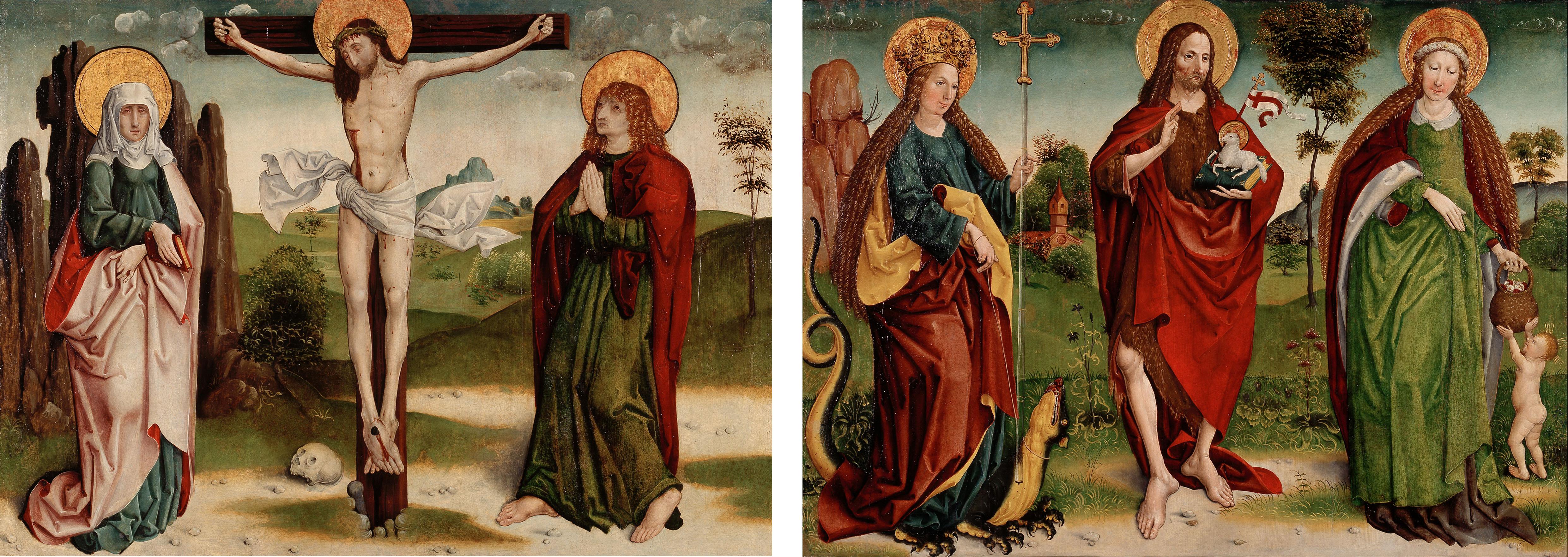 Deux panneaux d'autel peints en style gothique tardif. Sur chacun d'eux se trouvent trois saints avec une auréole. Un homme maigre est cloué à une croix sur une photo, le même homme avec une robe rouge se tient au milieu dans l'autre.