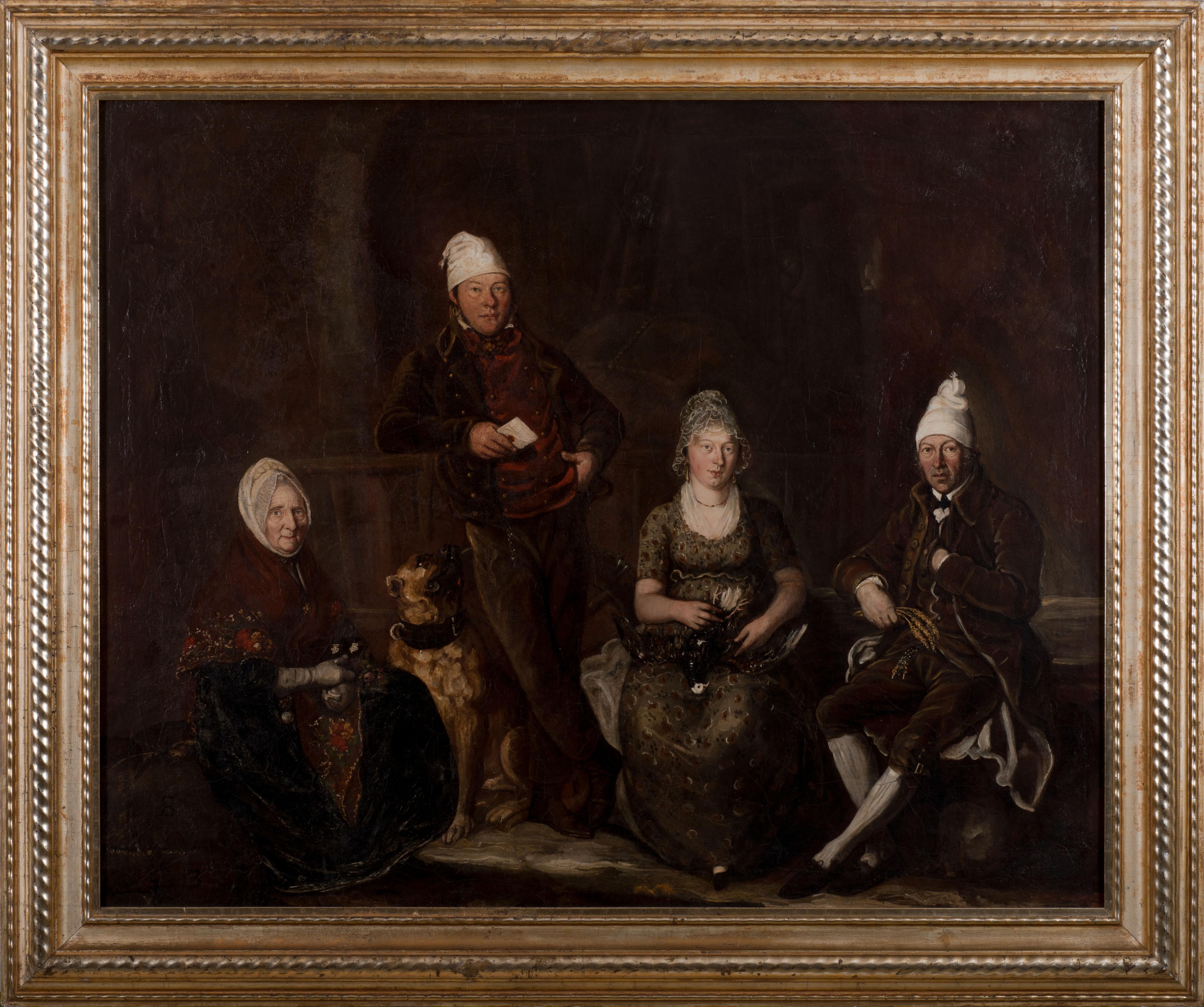Dans un cadre doré, on peut voir un tableau peint en couleurs foncées avec quatre personnes différentes et un chien. Tous portent un couvre-chef blanc à l'ancienne et un seul d'entre eux se tient debout, les autres s'assoient.