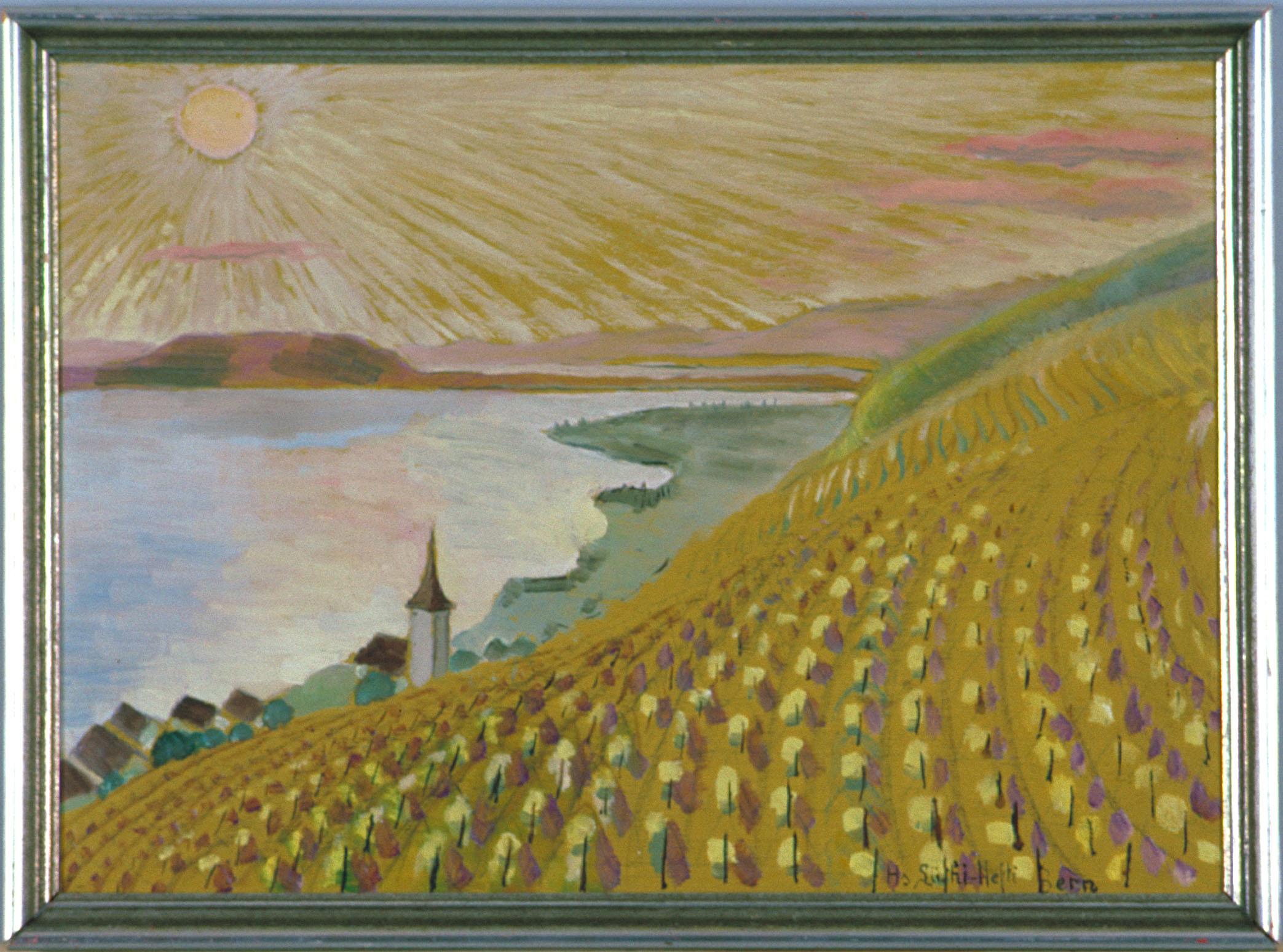 Ein gemaltes Bild mit einer Sonne, Rebbergen, einer Kirche, ein bisschen Grün, dem See und Häusern.