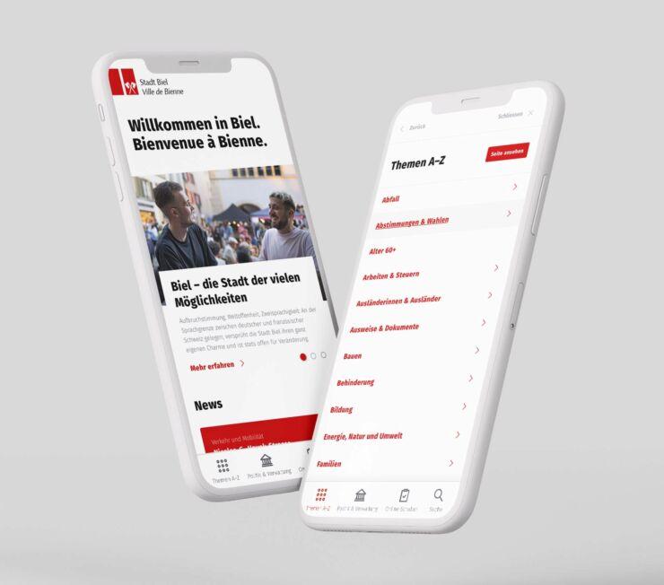 Foto, das symbolisch 2 Ansichten der Bieler-Website auf einem Smartphone zeigt.