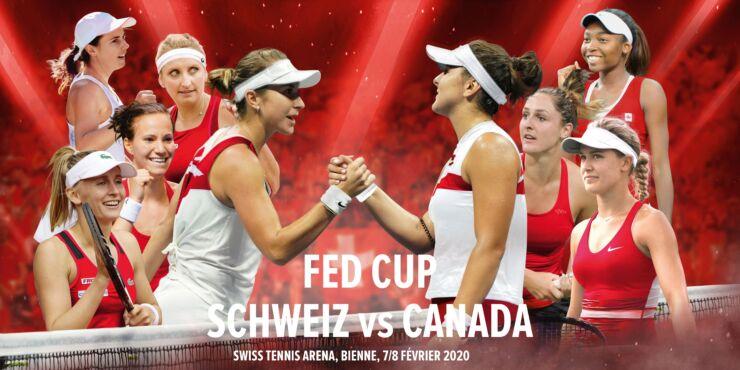 Werbebanner für den Fed Cup Schweiz vs Kanada 7./8.2.2020 mit den Schweizer Tennisspielerinnen